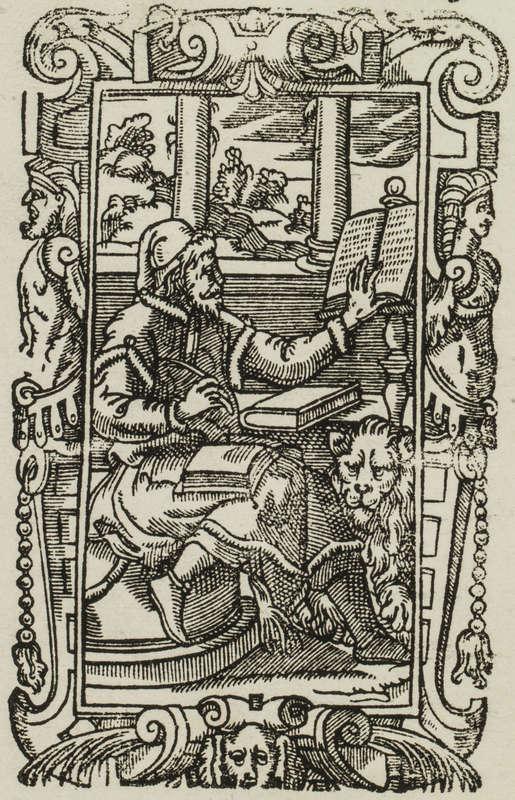 Gravure ancienne représentant Marc copiant un évangile accompagné de son emblème le lion.