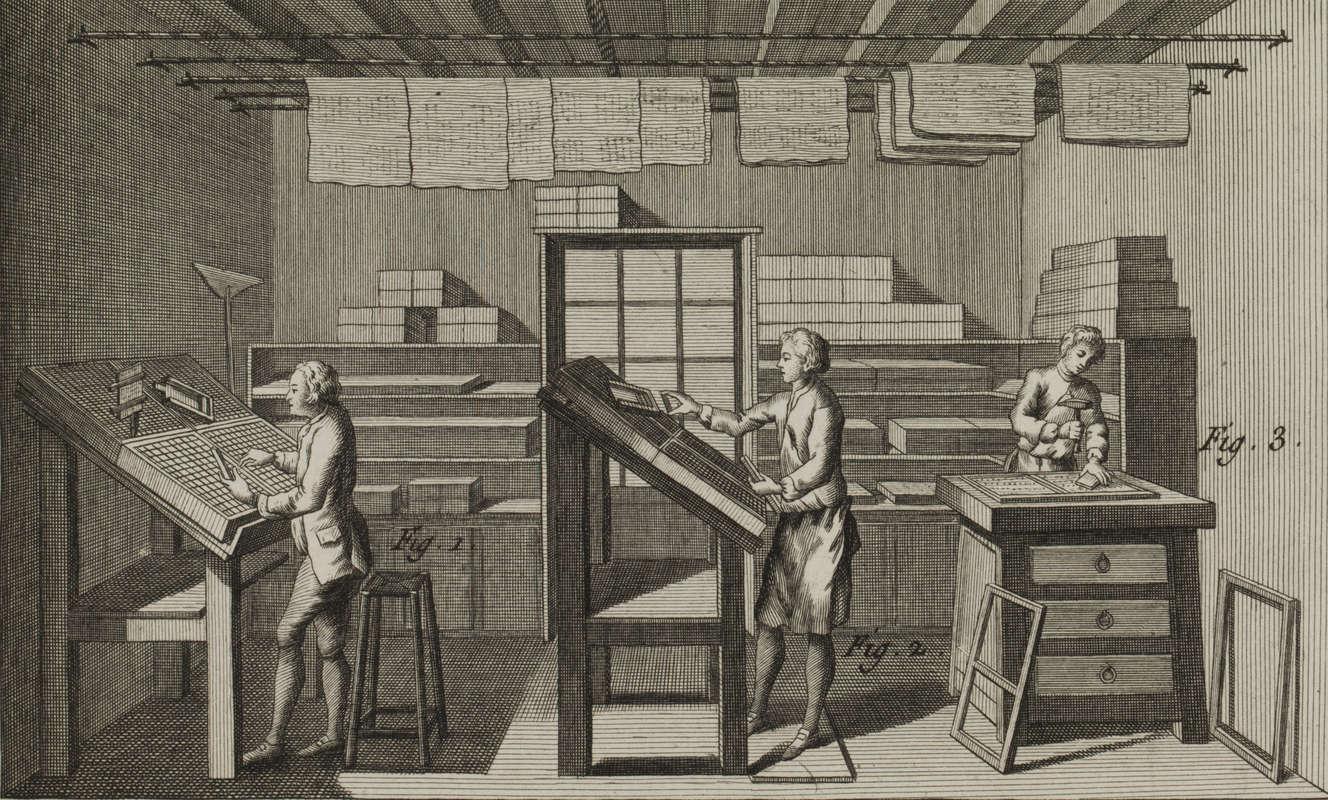 Gravure ancienne représentant l'intérieur d'une imprimerie.