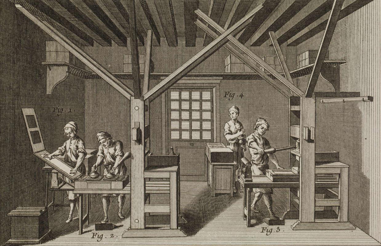 Gravure ancienne représentant le fonctionnement d'une presse et l'encrage des caractères dans une imprimerie.