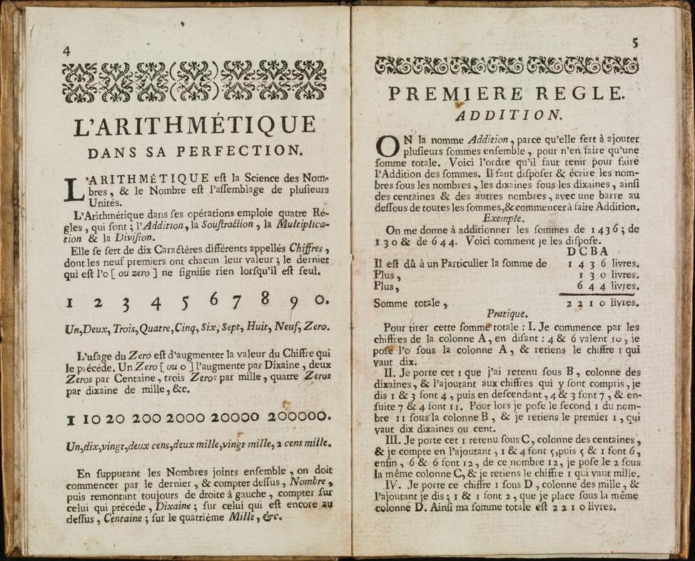 """Reproduction de deux pages du livre intitulé """"L'Arithmétique dans sa véritable perfection""""."""