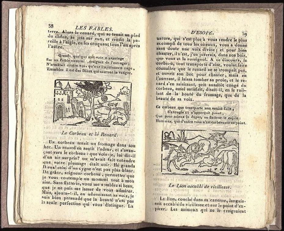 Reproduction de deux pages d'un recueil de fables d'Esope imprimé dans la Bibliothèque bleue. Chaque fable est illustrée d'une petite gravure.