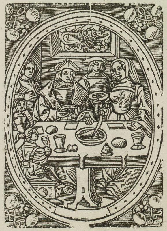 Reproduction d'une gravure extraite d'un livre de la Bibliothèque bleue représentant une famille à table.