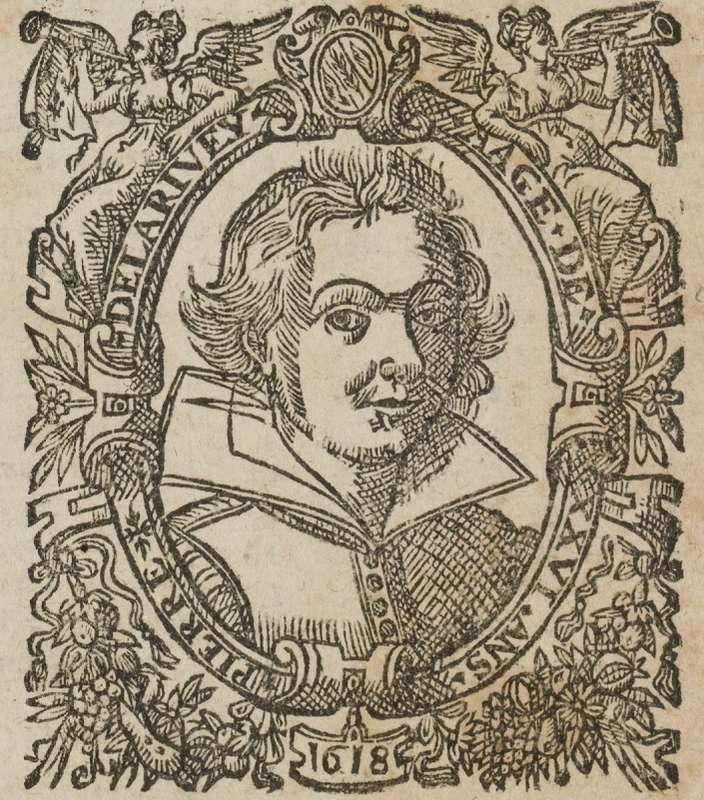 Reproduction d'un portrait d'un astrologue extrait d'un livre de la Bibliothèque bleue.