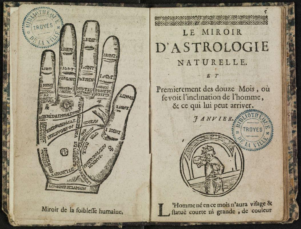 """Reproduction d'une gravure représentant une main extraite du """"Miroir d'astrologie naturelle""""."""