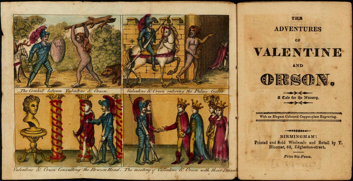 Reproduction d'une suite d'images représentant l'histoire de Valentin et Orson. La première représente le combat de Valentin contre Orson dans une forêt.