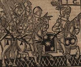 Reproduction d'une gravure représentant des chevaliers extraite d'un livre de la Bibliothèque bleue.