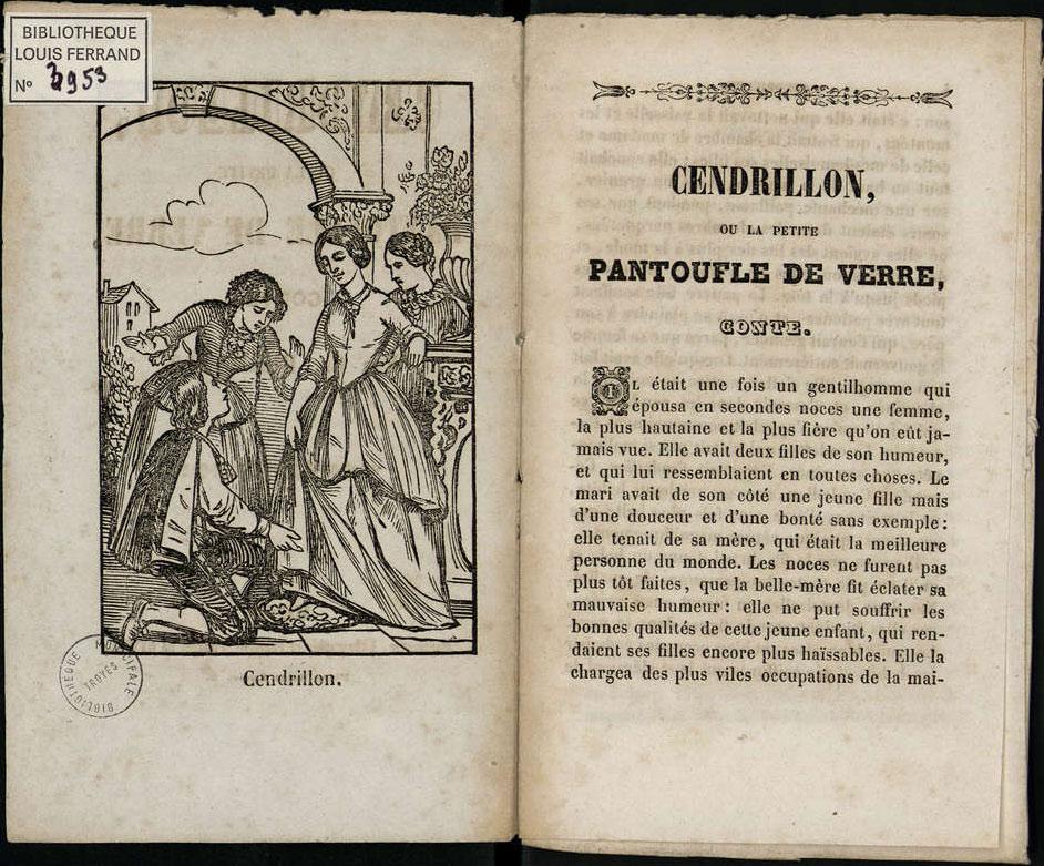 """Reproduction d'une gravure illustrant le conte de fée """"Cendrillon"""" dans la Bibliothèque bleue."""